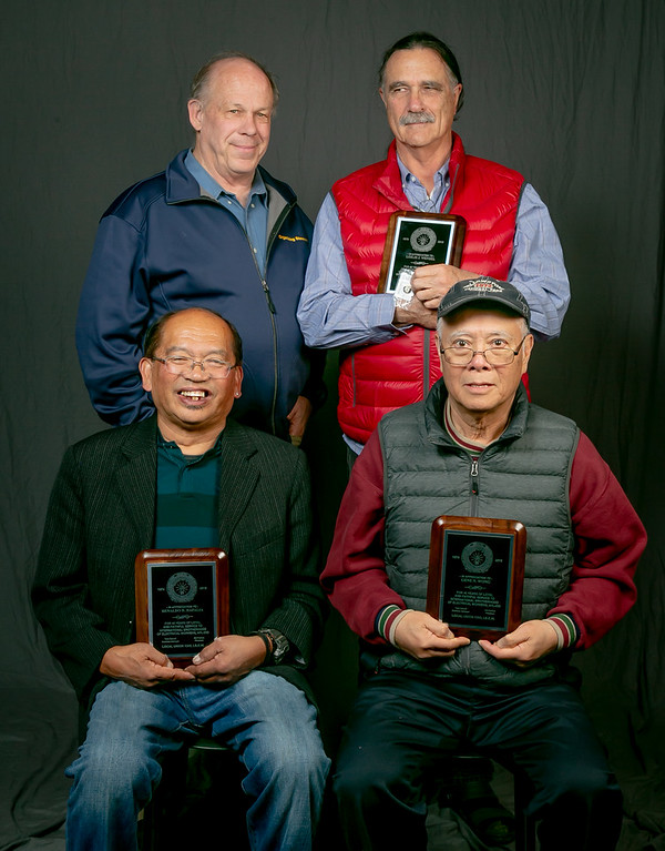 45 year members, from left: Front row- Renaldo Hafalia and Gene Wong. Back row- Tom Dalzell and Jerry Beebe