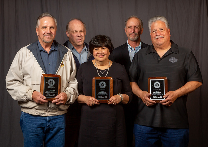 40 year members (from left, front row) David Mydland, Esther Ruiz and Salvadore Mesa with Business Manager Tom Dalzell and Business Rep Mark Rolow (back row)