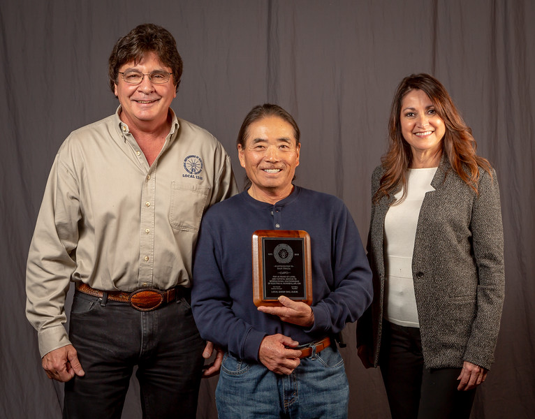 45 year member;Dan Iwata (center) with Rep Jim Brager and Treasurer Cecilia De La Torre