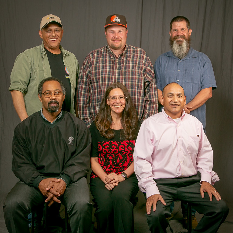 5 year members, from left:  Front row- Assistant Business Manager Al Fortier, Marcy Webb and Business Rep. Jaime Tinoco. Back row- Jeffrey Wooten, Todd Zarkovacski and Daniel Zucker