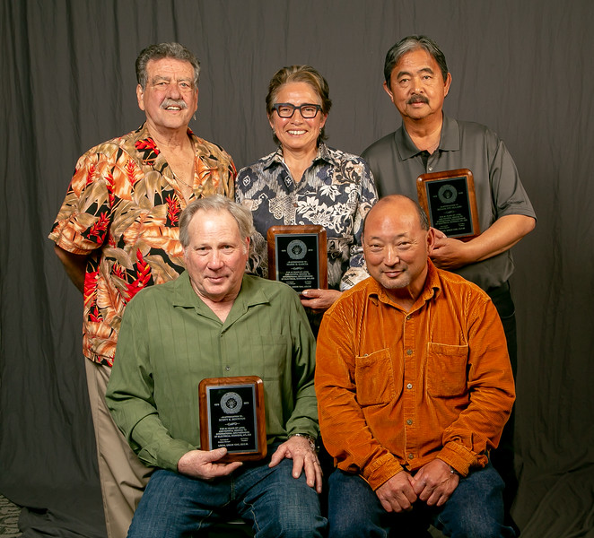 40 year members, from left: Front row- Scott Boynton and Jerry Takeuchi. Back row- Art Freitas, Marie Garcia and Reggie Encallado