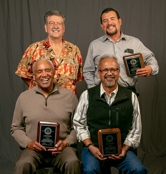 40 year members; l-r; front row; Ronald Garnett and Wouter Scheepe. Back row; Art Freitas,  and Ricardo Diaz at the IBEW 1245 Monterey Pin Dinner in Monterey, Calif. on March 29th, 2019.