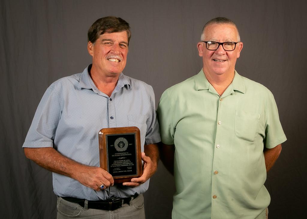40 year member Richard Rosensteel (left) with Business Rep Mark McCrea